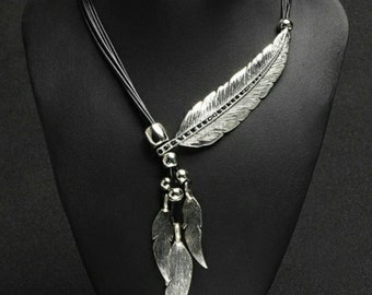 After Life Accessories Handmade Black & Silver Feather Bib Necklace