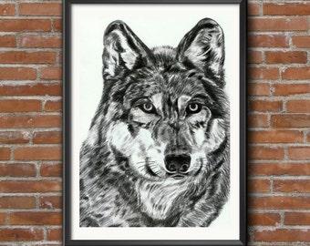 Wolf Print, Wolf Art, Prints, Wolf Totem, Wolf, Wolf Portrait Art Print, Wolf decor print, Wolf Prints