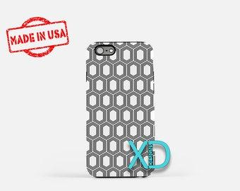 Geometric Phone Case, Geometric iPhone Case, Polygon iPhone 7 Case, Black, White, Polygon iPhone 6 Case, Geometric Tough Case, Clear Case