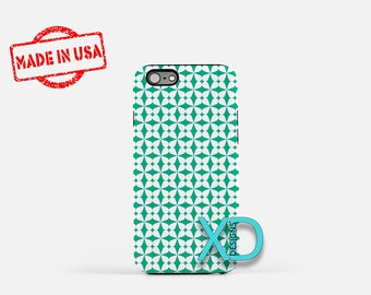Teal Flower Phone Case, Teal Flower iPhone Case, White Petal iPhone 7 Case, Blue, White Petal iPhone 8 Case, Teal Tough Case, Clear Case