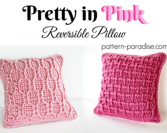 Crochet Pattern Throw Pillow Pretty In Pink PDF 17-300