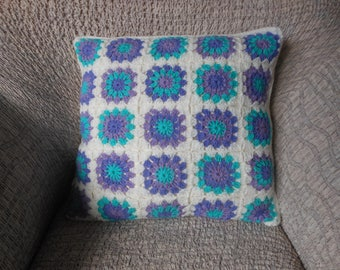 Crochet Pillow, Granny Square Cover Pillow, Decorative Pillow, Lila Turquoise Handmade Home Decor 16x16