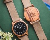 Personalized Men's Wood Watch, Groomsmen Gift, Father's Day Groomsmen Watch, Canvas Strap Wood Watch, Gifts For Dad - RIDGE-ZB