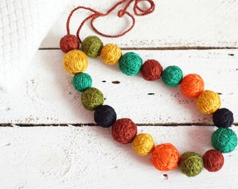 colorful necklace balls thread cotton for women fiber natural summer