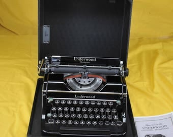 MINT Refurbished 1938 UNDERWOOD Champion Portable Typewriter W/ Warr