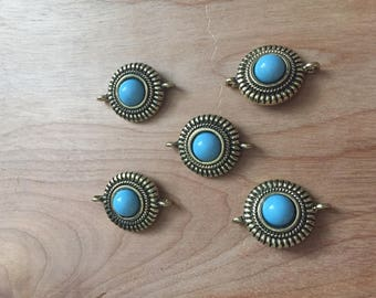 5 pc. Lot of Fancy Gold Tone Connector with Blue Acrylic Cabochon- 25mm
