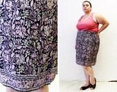 Plus Size - Vintage Printed Crepe Faux Sarong Skirt (Size 24)