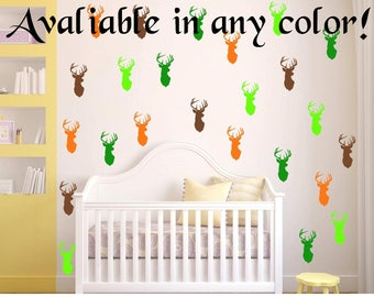 "40 Colors! 24 Peel and Stick 3"" Deer Head Wall Decals For Kids Rooms, Nursery Decor, Bedrooms, peel and stick dots"