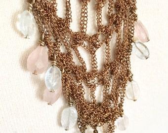 crochet necklace w/rose quartz