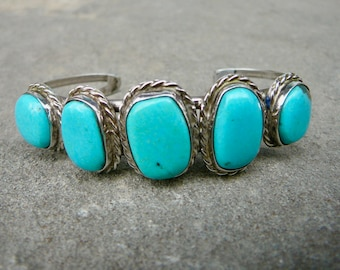 Turquoise and Silver Row Bracelet, Vintage Navajo Cuff, Old Pawn Native American Handmade Jewelry, Vintage Turquoise and Silver Bracelet