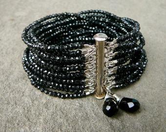 Black Spinel Bracelet, Multi Strand Black Spinel Bracelet, Black Spinel, Gemstone Bracelet, Black Bracelet, Black Gemstone, Modern Bracelet