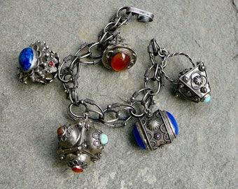 Etruscan Charm Bracelet,Vintage Etruscan Charm,Peruzzi Style Charm Bracelet,800 Italian Silver,Peruzzi Style Jewelry,Vintage Charm Bracelet