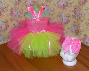 Infant girls 2pc Neon Green and Pink tutu dress with matching hairbow Infant size 0-12 month 3-6, 6-9, 9-12