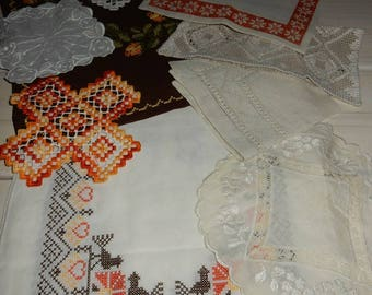 Set of 10 swedish hand embroidered doilies / runners / vintage / retro