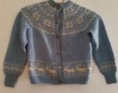 Vintage Child's Sweater 1960's Nordic Cardigan Sweater 60's Hand Knit Alpine Ski Sweater Xmas Reindeer Snowflake Sweater Size 6