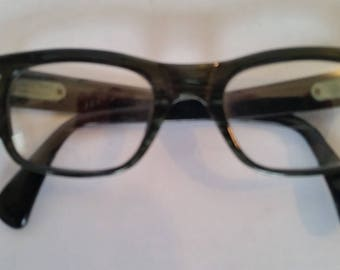 Vintage Eyeglasses 1960's Thick Green/Black Plastic Nerd Eyeglass Frames  Made in Italy Classic Men's Vintage Frames