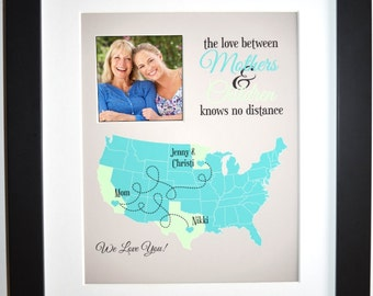 Long distance mom gift, long distance mother map, mothers day gift from kids, mother and her children custom, mom gift, mother children