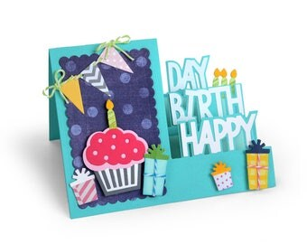 Sizzix - Framelits Die Set - 19 Pack - Card - Happy Birthday Step-Ups