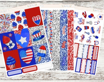 Fourth of July Weekly Planner Sticker Kit