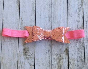 Light Pink Glitter Bow (small) Headband
