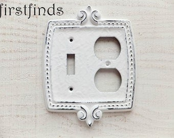Light Switch Outlet Plug Plate Combination Cover Electrical Shabby Chic White Metal Fleur De Lis Painted Vintage Duplex ITEM DETAILS BELOW