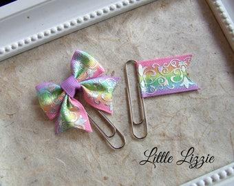 Planner clips set, Rainbow planner clips, planner accessories