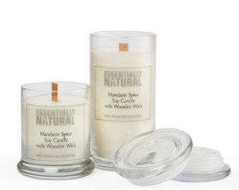 Organic Handmade Wooden Wick Soy Candle Jars