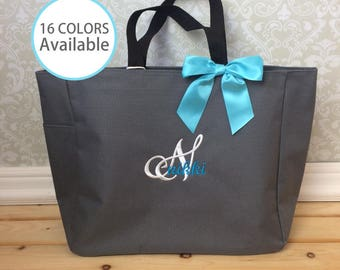 8 Monogrammed Tote Bags, Personalized Wedding Tote, Bridesmaid Gift, Embroidered tote bag, Essential tote bag