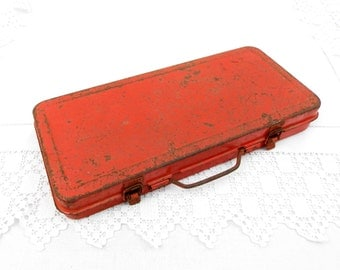 Vintage French Red Metal Tool Kit Box Rusty Distressed Patina, Retro, Garage, Decor, Home, Interior, Brocante, Industrial, Upycle, Prop