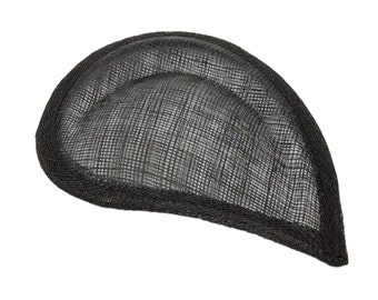 Black Sinamay Paisley Beveled Teardrop Fascinator Hat Base - Available in 8 Colors