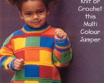 vkids knitting and crochet pattern multi colour sweater dk age 1 / 6 yrs dk yarn instant download