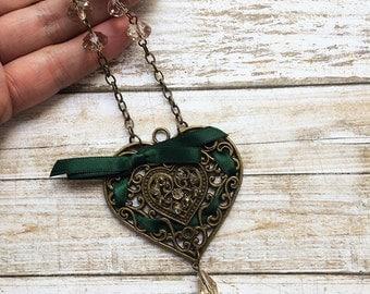 locket brass necklace - heart shape necklace - metal laced heart - golden heart necklace