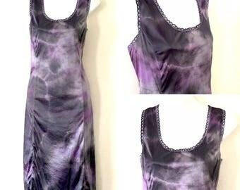 Stormy Skies Boho Hippy Tie Dyed Festival Slip Dress ~ Medium AU 10 - 12 US 8 - 10 ~ Silver Grey Charcoal