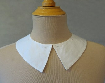 White Button On Cotton Pique Collar