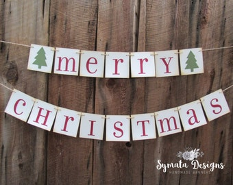 Merry Christmas banner - red green - xmas - holiday - 4x4 in panels - celebration - vintage banner - holiday banner - IATY503