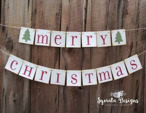 Merry Christmas Banner Red Green Xmas Holiday 4x4 In
