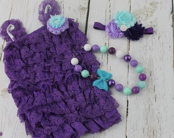 Little Mermaid  1st Birthday Outfit Under the Sea Outfit 3 pcs set Purple Lace Romper Chunky Necklace Baby Girl Headband Cake Smash