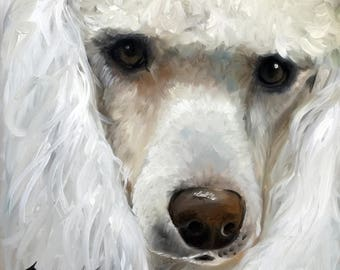 """Poodle teacup toy Standard dog portrait pet Art Print / Mary Sparrow of hanging the Moon """"Beauty"""""""