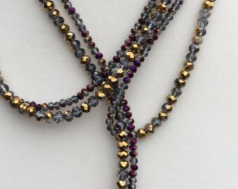 Amethyst Crystal Long Lariat, Gemstone Lariat, Long Amethyst Crystal Lariat, Gold Crystal Rondelle Beaded Lariat, Rondelle Bead Lariat