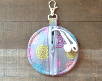 Gray Circle Zip Earbud Pouch / Coin Purse / Pink, Yellow, Orangle Swirl Dots on Gray