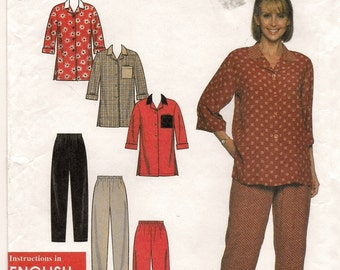 A Casual, 3/4 Sleeve, Longer Length Blouse and Elastic Waist Pants Pattern for Women: Uncut - Sizes 6-8-10-12-14-16 ~ Simplicity 7933