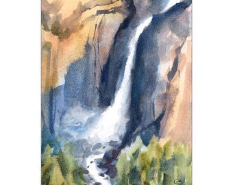 Yosemite Falls - Original Watercolor Painting Waterfall Landscape 8 x 11 inches