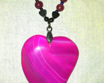 All hearts... in pink striped agate