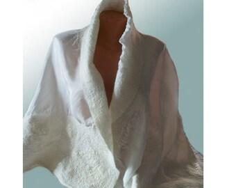 Bridal shawl - Felted scarf - Womens cape coat - Bridal capelet - Woo wrap - Scarf cape -   shawl - Nuno felted scarf - Wool poncho