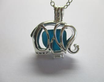 GENUINE SEA GLASS Necklace Sterling Silver Elephant Locket Rare Blue Teal Gem Surf Tumbled Natural Beach Seaglass Pendant Jewelry  N 740