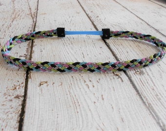 Suede Leather Braided Headband- Blue,Lime,Lavender,Grey,Black- Teen/Adult