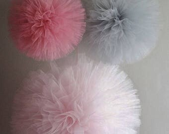 Premium Tulle Pom Poms, Tulle Balls, Tulle Puff, Girls Nursery Decor, Nursery Mobile, Birthday Party Decor, Baby Shower Decor, Wedding Decor