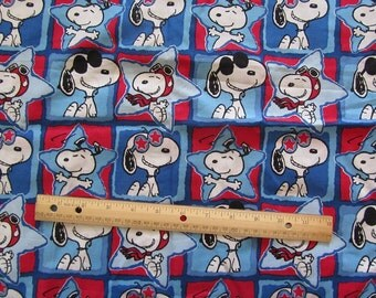 22 Inches Patriotic Snoopy Ace Pilot/Joe Cool Cotton Fabric