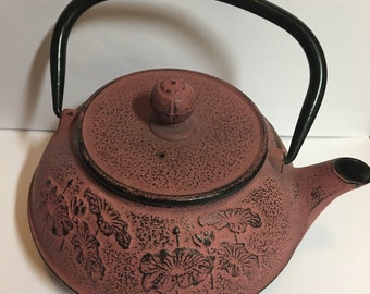Cast iron teapot, Japanese, mauve 4-cup with strainer in unused condition