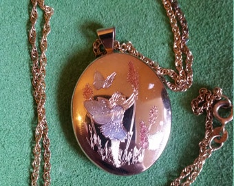 14k Gold Filled Fairy Locket by Estate with 925 Silver Chain